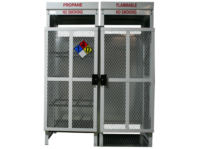 8 Horizontal (Propane) And 10 Vertical (Large) Cylinders   Mesh   Gas  Cylinder Locker
