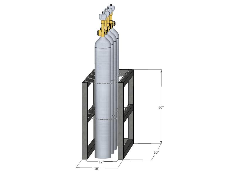 Gas Cylinder Rack Barricade 4 Tanks 1x4 Br1x4fs