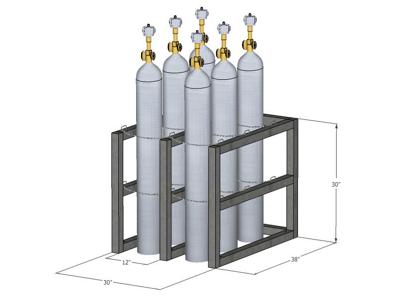 Gas Cylinder Rack Barricade 6 Tanks 2x3 Br2x3fs