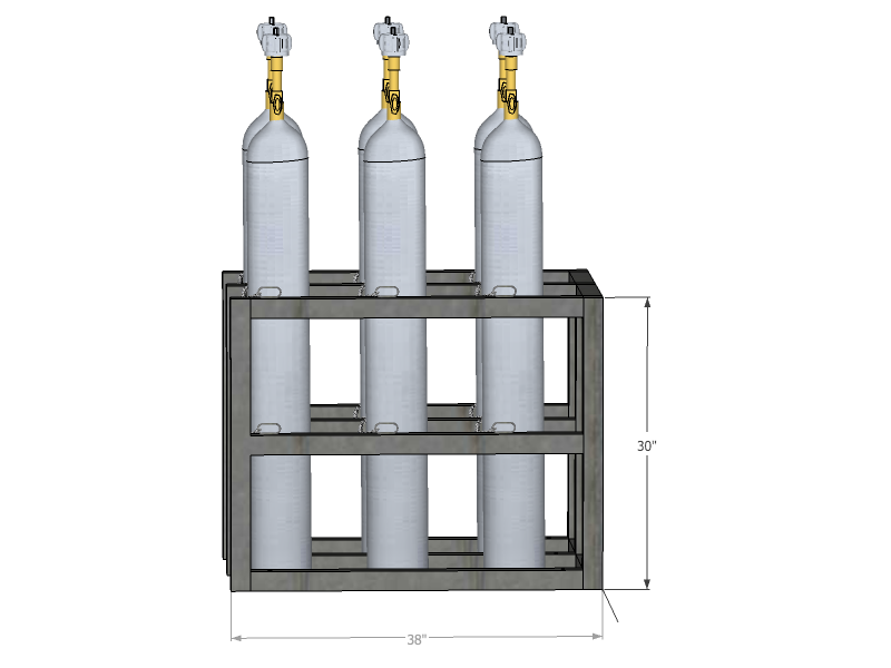 Gas cylinder rack barricade 6 tanks 2x3 br2x3fs usasafety com