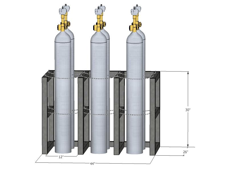 Gas Cylinder Rack Barricade 6 Tanks 3x2 Br3x2fs
