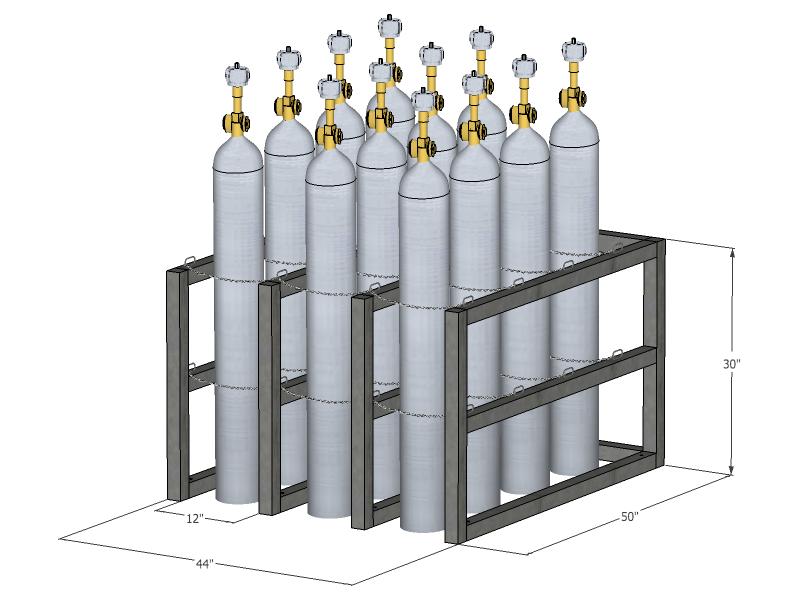 Gas Cylinder Rack Barricade 12 Tanks 3x4 Br3x4fs