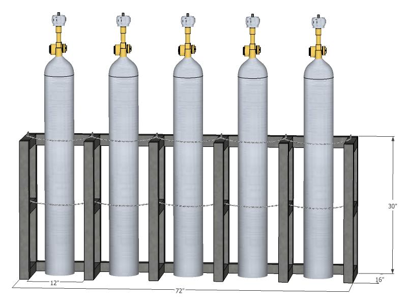 Gas Cylinder Rack Barricade 5 Tanks 5x1 Br5x1fs
