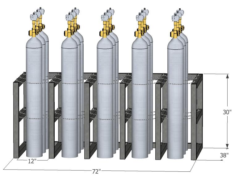 15 Cylinders 5x3 Barricade Gas Cylinder Rack