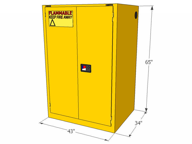 Flammable Storage Cabinet Self Closing Doors 90 Gallons