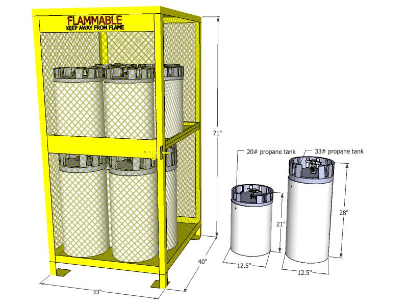 Gas Cylinder Cage 12 Propane Tanks Vertical Storage