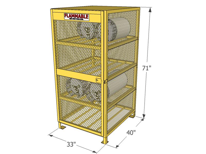 Gas Cylinder Cage 8 Propane Tanks Horizontal Storage