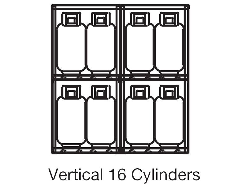 propane tank cage  outdoor storage  16 cylinders  vertical