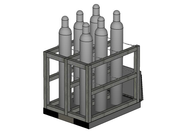 Gas Cylinder Pallet Rack 6 Tanks Ramp Gp2106fs