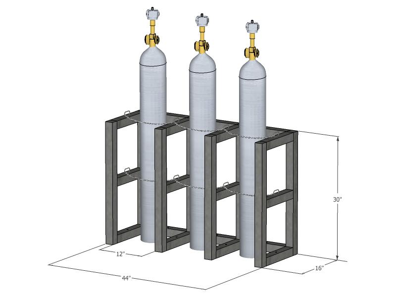 Gas Cylinder Rack Barricade 3 Tanks 3x1 Br3x1fs