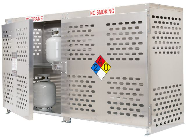 24 Propane Tanks (20 LB)   Outdoor   Vertical Storage   2 Compartments 2  Doors   Laser Cut Aluminum   Gas Cylinder Cage