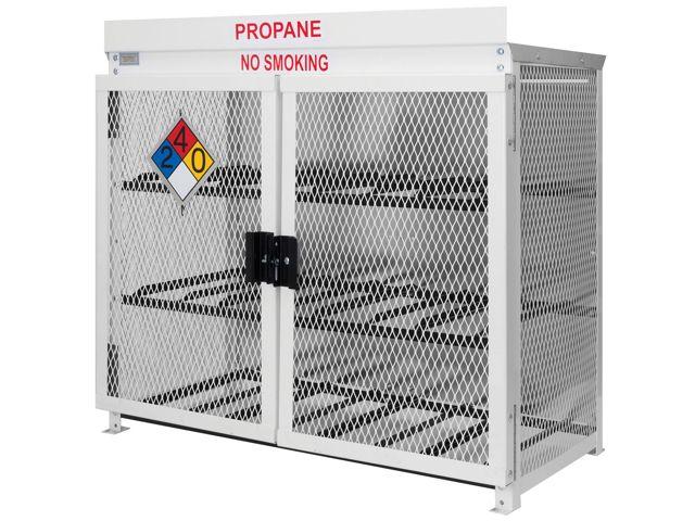 12 Propane Tanks 33 Lb Outdoor Horizontal Storage 2 Doors Steel Mesh Gas Cylinder Cage